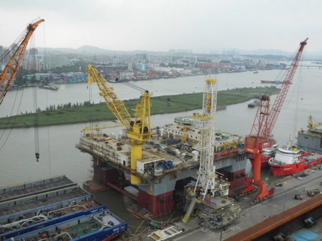 Drill Rig Dry Docked for Maintenance