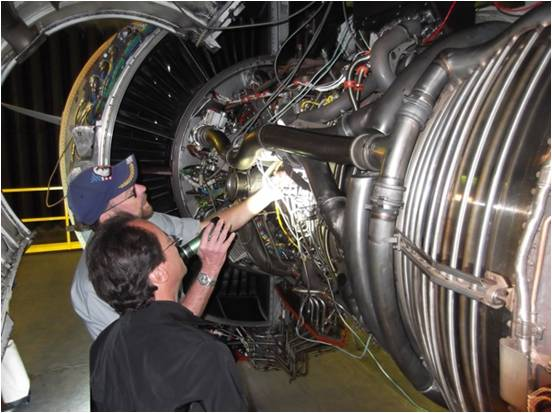 The STRIKER™ used in a jet engine inspection