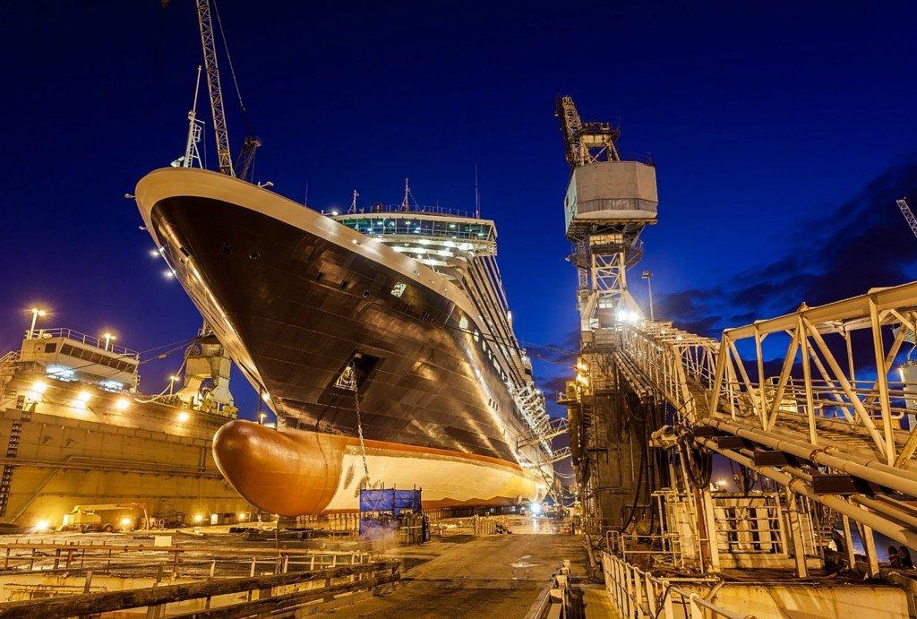 Ship dry docked for maintenance