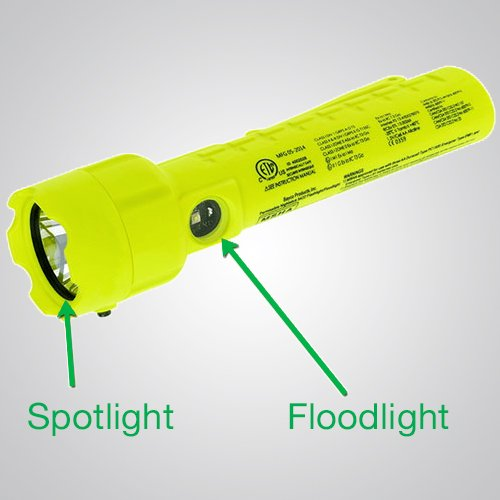 Model 7451 LED – Intrinsically Safe Black Dual-Light Flashlight, Intrinsically Safe Dual-Light Flashlight, flashlight, dual-light flashlight, nighstick, intrinsically safe flashlight, intrinsically safe lights, LED Work Light, portable LED work light, portable led light, battery-powered, cETLus, ATEX, IECEx, MSHA, yellow