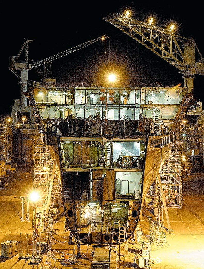 Ship Building at Night
