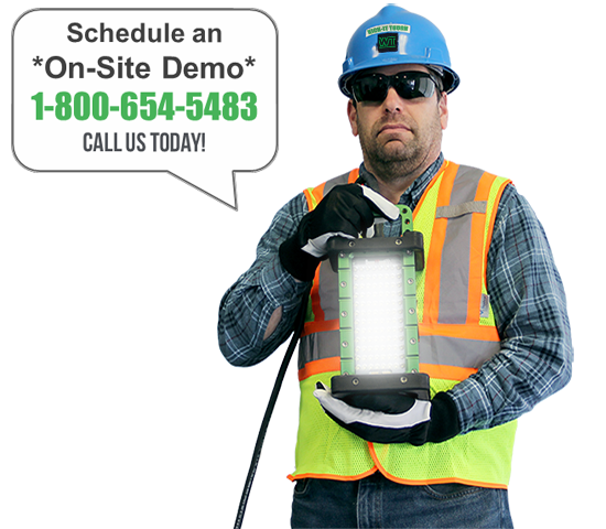 Dave holding The BRICK­®, portable LED work lights, schedule a demo, brick, 9610