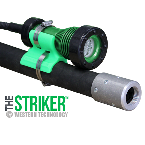 The STRIKER™, STRIKER, model, 8100, led, explosion proof, blast light, led blast light, explosion proof led blast light, stanchion, blast hose, Western Technology