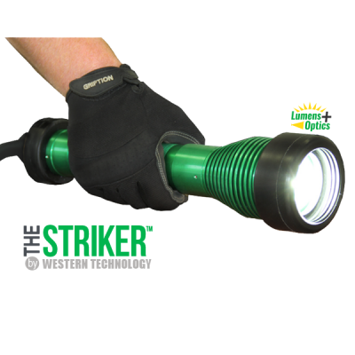 The STRIKER™, 8100, striker, LED, hand-held, explosion proof drop light, hazardous location lighting, portable LED work light, C1D1, C2D2, temporary led lighting, explosion proof inspection work light & drop light, lumens + optics, portable explosion proof led inspection light, portable explosion proof led work light