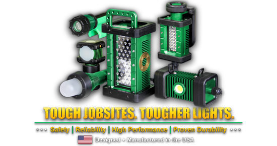 tough jobsites, tougher lights, kick-it tough, led safety lights, safety, reliability, high performance, proven durability, portable led work lights, western technology, lights, manufactured in the USA
