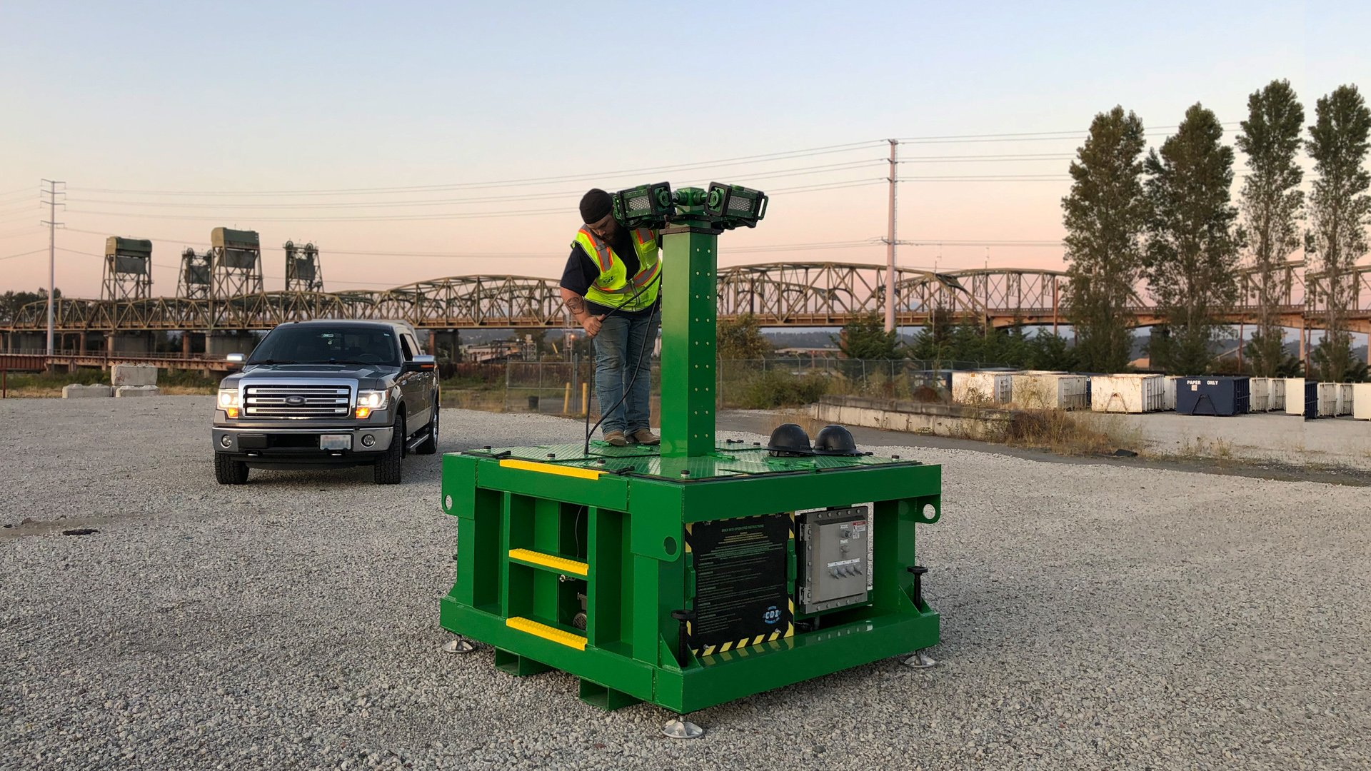 BRICKSkid, brick skid, zero-emissions, spark free construction, portable, explosion proof, led, light tower, explosion proof light tower