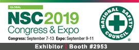 exhibitor, booth 2953, nsc, nsc 2019, congress & expo, national safety council, Sept. 9-11, san diego, ca