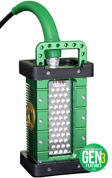 The BRICK®, 9610, gen3, Brick, portable explosion proof led area light, portable work light, temporary job site lighting, hazardous locations, field repairable, cable replacement, features, green bend radius sleeve, class i, div 1, hazloc