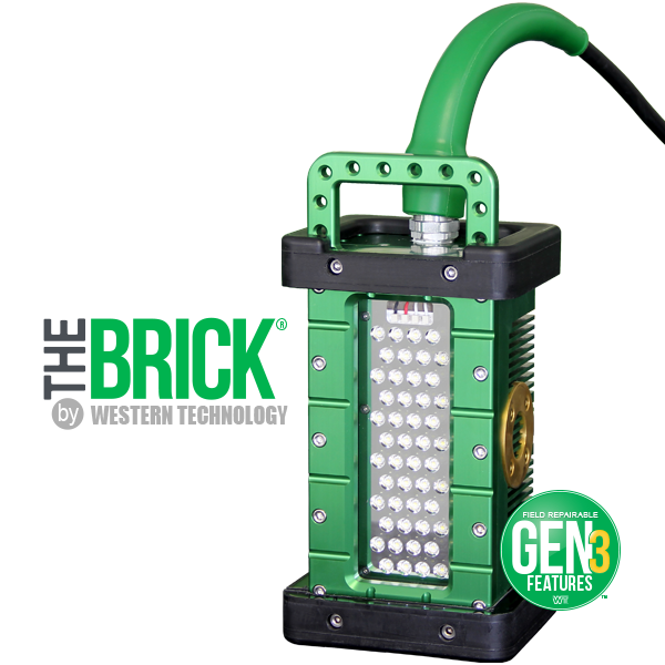 9610, gen3, brick, portable explosion proof led area light, portable work light, temporary job site lighting, hazardous locations, field repairable, cable replacement, features, green bend radius sleeve, explosion proof tank lighting, inspection, portable luminary, portable luminaire, 36 VDC, 24 VDC, 12 VDCC1D1, C2D2, Class 1 Div 1, Class I Div 1, Class 1 Div 2, Class I Div 2, Class 2 Div 1, Class II Div 1, Class 2 Div 2, Class II Div 2, KICK-IT TOUGH™ LED Safety Lights, Work Light, Wet Location