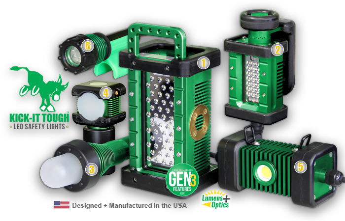 KICK-IT TOUGH™ Series, KICK-IT TOUGH™ LED Safety Lights, kick-it tough, LED, safety lights, portable LED work lights, explosion proof, ordinary location, abrasive blast, lighting, BRICK, BRICKette, STRIKER, BODYLight, body light, 3475, LED Blast light, link-a-light, LINKaLIGHT, numbered