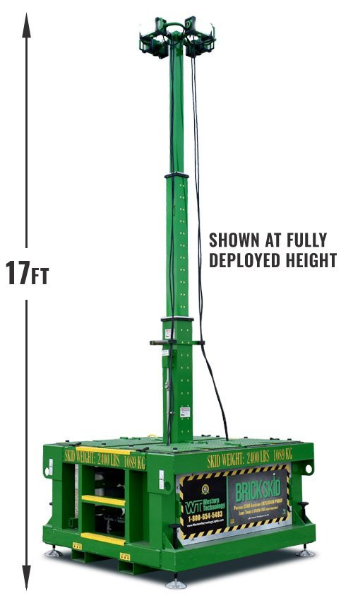 brick skid, ZERO-Emissions, Portable, Explosion Proof, Light Tower, spark-free construction, 17 feet