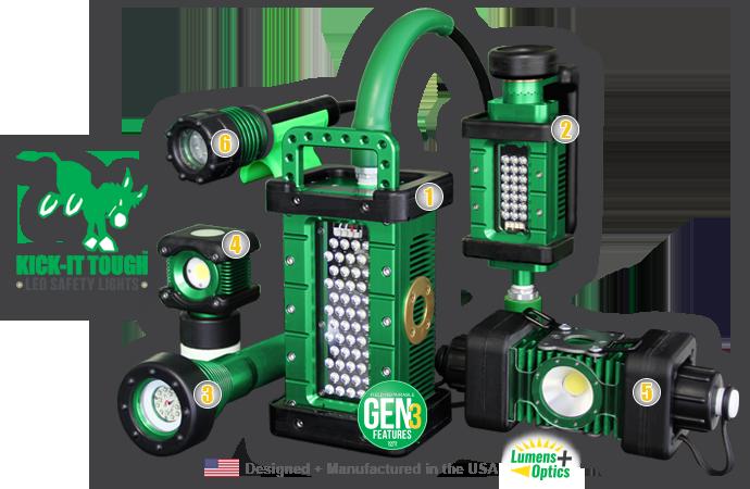 KICK-IT TOUGH™ LED Safety Lights, kick-it tough, LED, safety lights, portable LED work lights, explosion proof, ordinary location, abrasive blast, lighting, The BRICK, BRICK, 9610, The BRICKette, BRICKette, 2106, The STRIKER, STRIKER, 8100, BODYLight, body light, 8910, The 3475, 3475, 3475-80, LINKaLight, Link-a-light