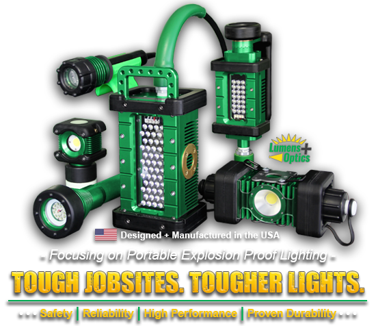 tough jobsites, tougher lights, kick-it tough, led safety lights, safety, reliability, high performance, proven durability, portable led work lights, western technology, lights, manufactured in the USA, focusing on portable explosion proof lighting