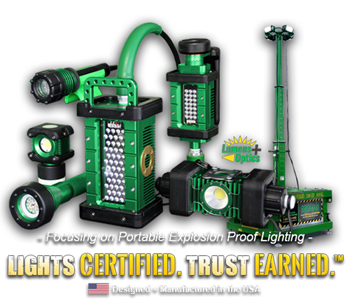 lights certified, trust earned, kick-it tough, led safety lights, portable led work lights, western technology, lights, manufactured in the USA, focusing on portable explosion proof lighting, brick skid