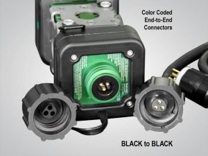model 4400, LINKaLIGHT, link a light, Industrial LED String Light System, led stringer light system, led, portable, work light, ordinary location, temporary job site light, string work light, floodlight, area light, 4400, led wide area stringer light system, color coded end to end connections, black