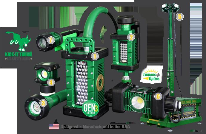 KICK-IT TOUGH™ LED Safety Lights, kick-it tough, series, LED, safety lights, portable LED work lights, explosion proof, ordinary location, abrasive blast, lighting, The BRICK, BRICK, 9610, The BRICKette, BRICKette, 2106, The STRIKER, STRIKER, 8100, BODYLight, body light, 8910, BRICKSkid, brick skid, LINKaLIGHT, link a light, 4400, The 3475, 3475, 3475-80, numbered