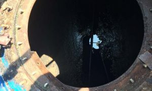 underground fuel storage tank, fuel storage tank cleaning, before