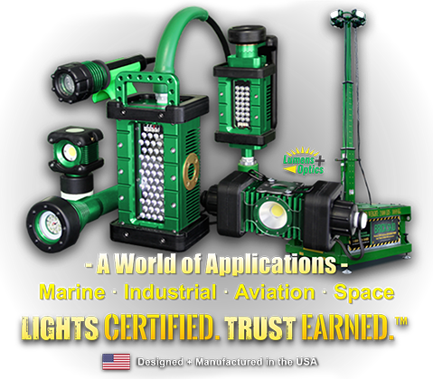 kick-it tough, led safety lights, portable led work lights, a world of applications, marine, industrial, aviation, space, lights certified, trust earned, designed and manufactured in the USA